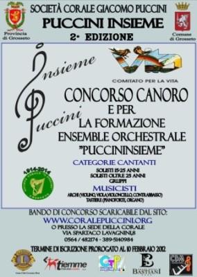 Proroga del termine di iscrizione al Concorso canoro Puccininsieme per il Comitato per la Vita Grosseto al 3 marzo 2012
