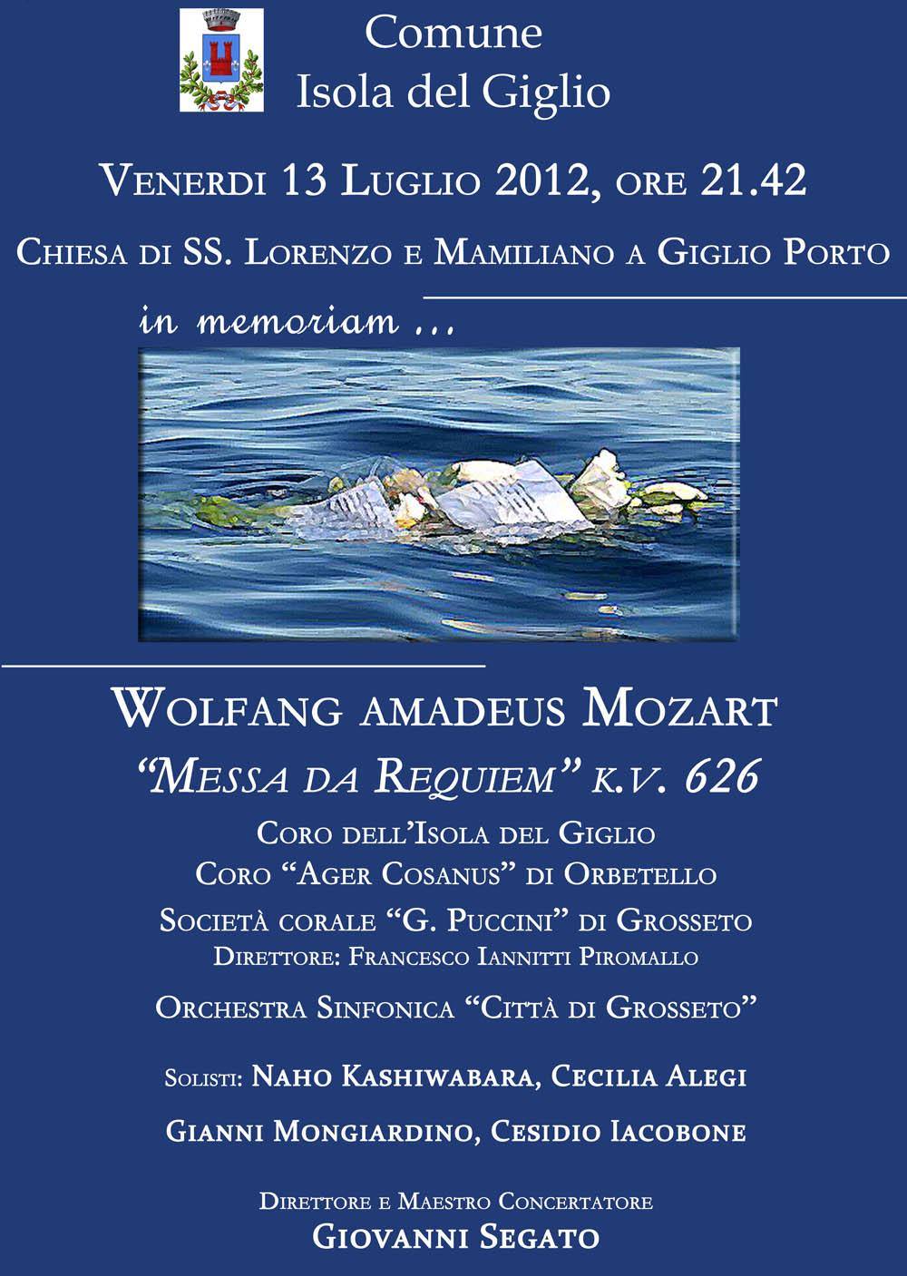 Requiem di W.A.Mozart – In memoriam a sei mesi dal naufragio di Costa Concordia