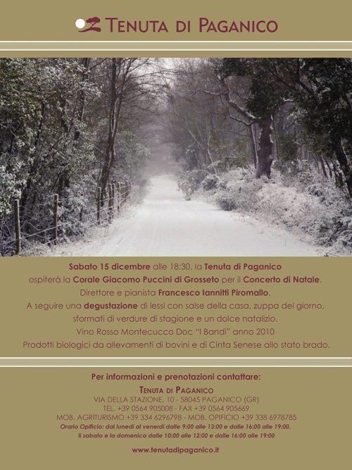 Concerto di Natale ore 18:30 Tenuta di Paganico, sabato 15 dicembre, seguirà degustazione