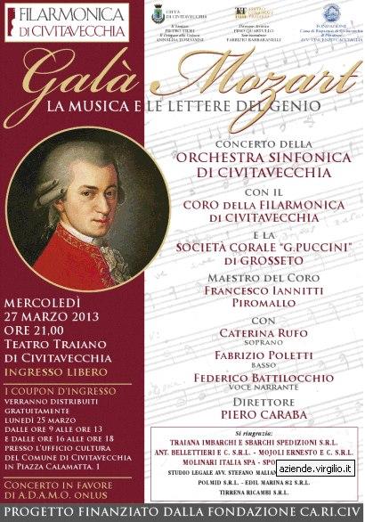 Mercoledì 27 marzo ore 21, Teatro Traiano Civitavecchia: Galà Mozart