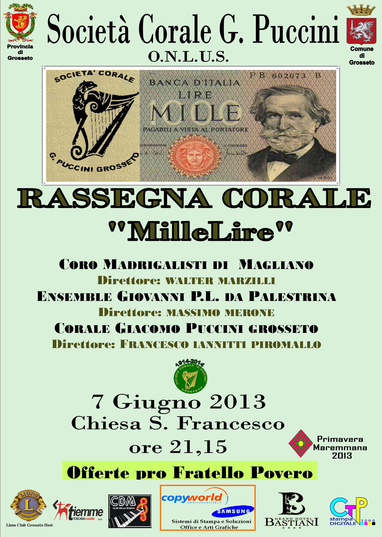 """Rassegna Corale """"MilleLire"""": Chiesa S.Francesco a Grosseto, venerdì 7 giugno ore 21:15"""
