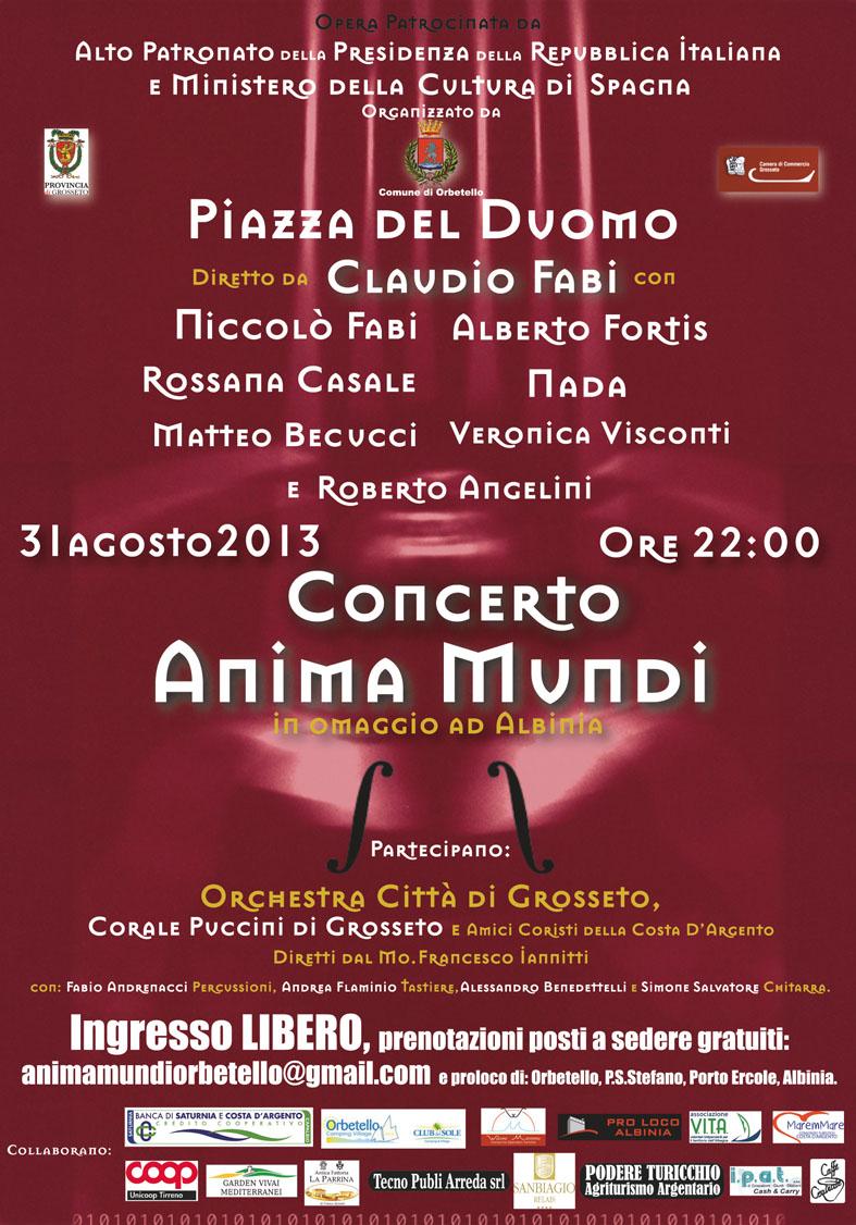 """Concerto """"Anima Mundi"""" in omaggio ad Albinia: sabato 31 agosto ore 22:00, Piazza del Duomo a Orbetello"""