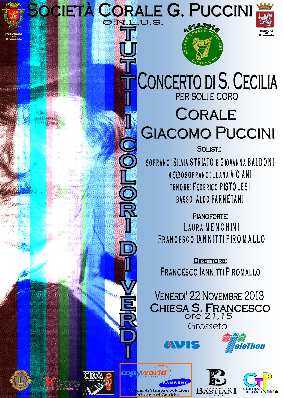 """""""Tutti i Colori di Verdi"""": Concerto di S.Cecilia 2013, 22 novembre ore 21:15, Chiesa S. Francesco d'Assisi a Grosseto – Cena sociale"""