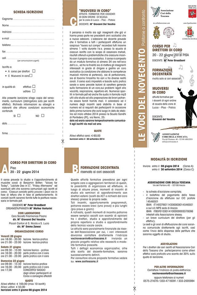 """""""Corso per Direttori di Coro"""" – Associazione Cori Toscana"""
