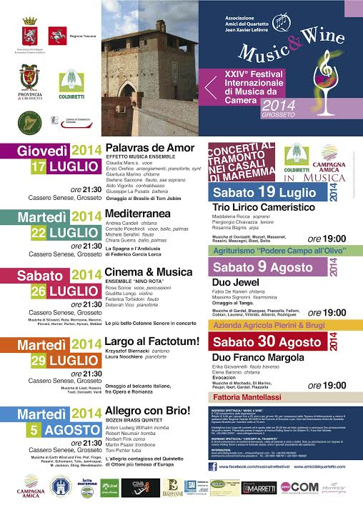 "XXIV Festival Internazionale Musica da Camera ""Music & Wine"" – 2014"