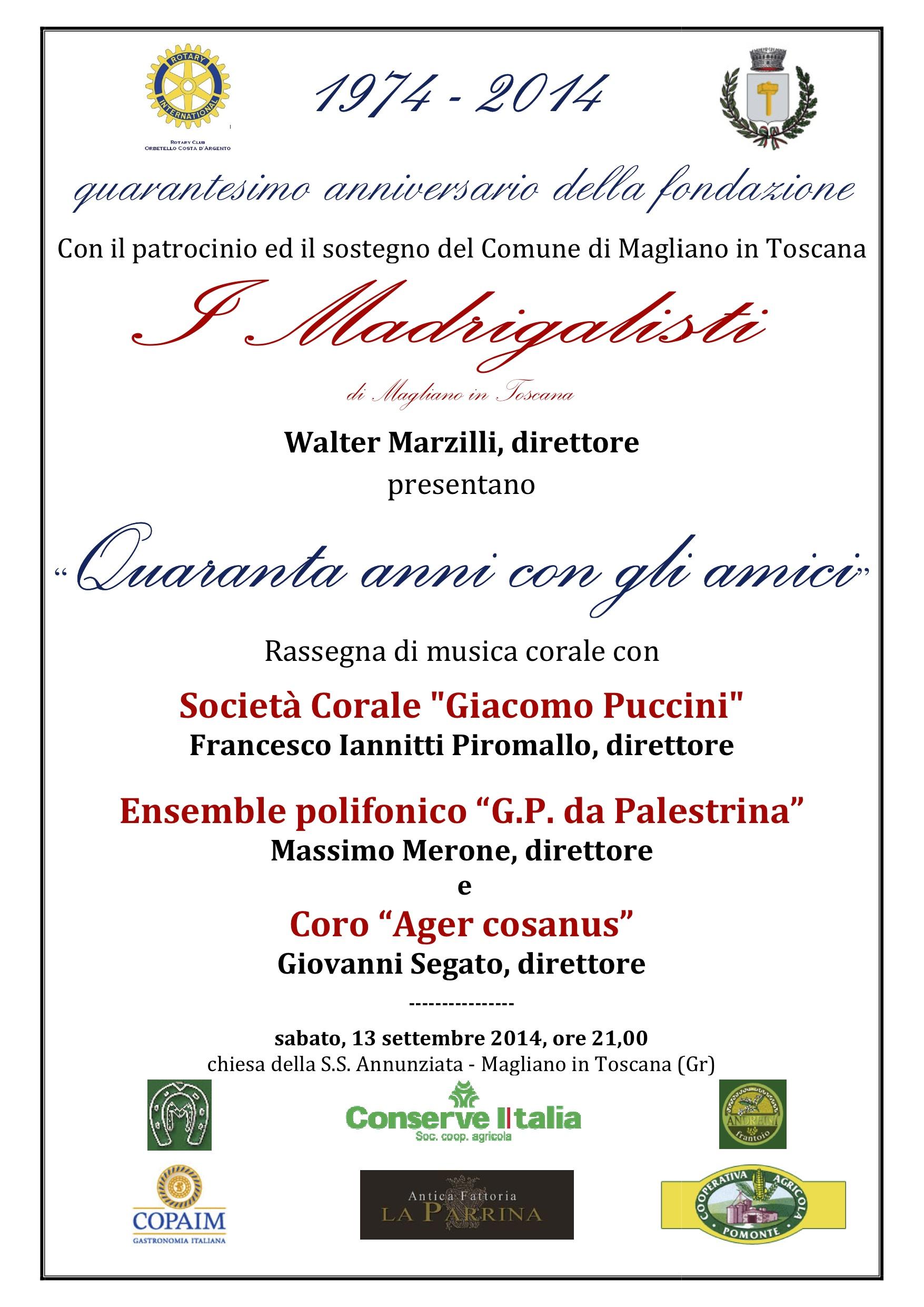 """""""Quarantanni con gli amici"""" – Rassegna di musica corale per il 40° anniversario de I Madrigalisti di Magliano"""