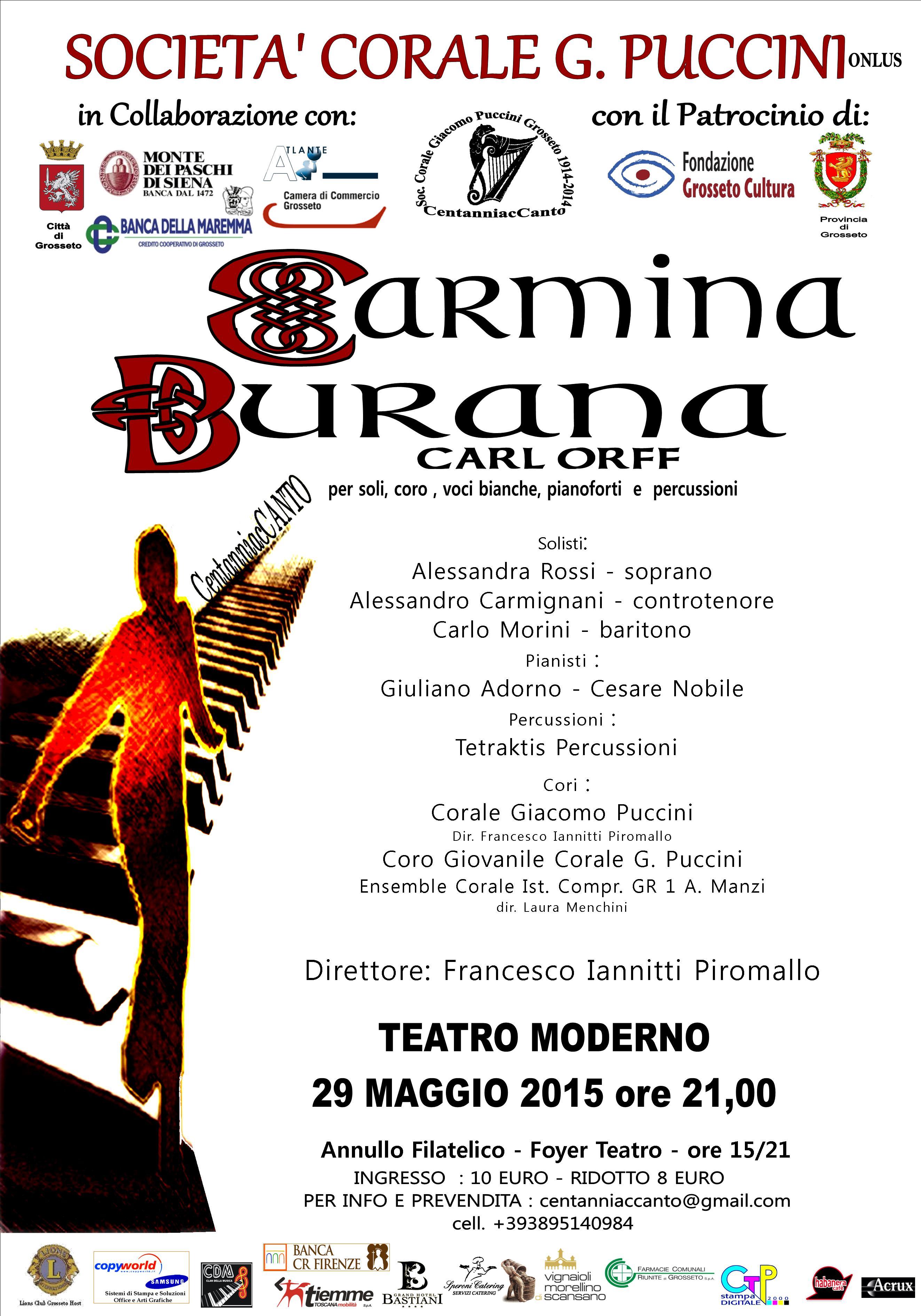 """""""Carmina Burana"""" di Carl Orff, per soli, coro, voci bianche, pianoforti e percussioni – Teatro Moderno, Grosseto, 29/5/2015 ore 21"""