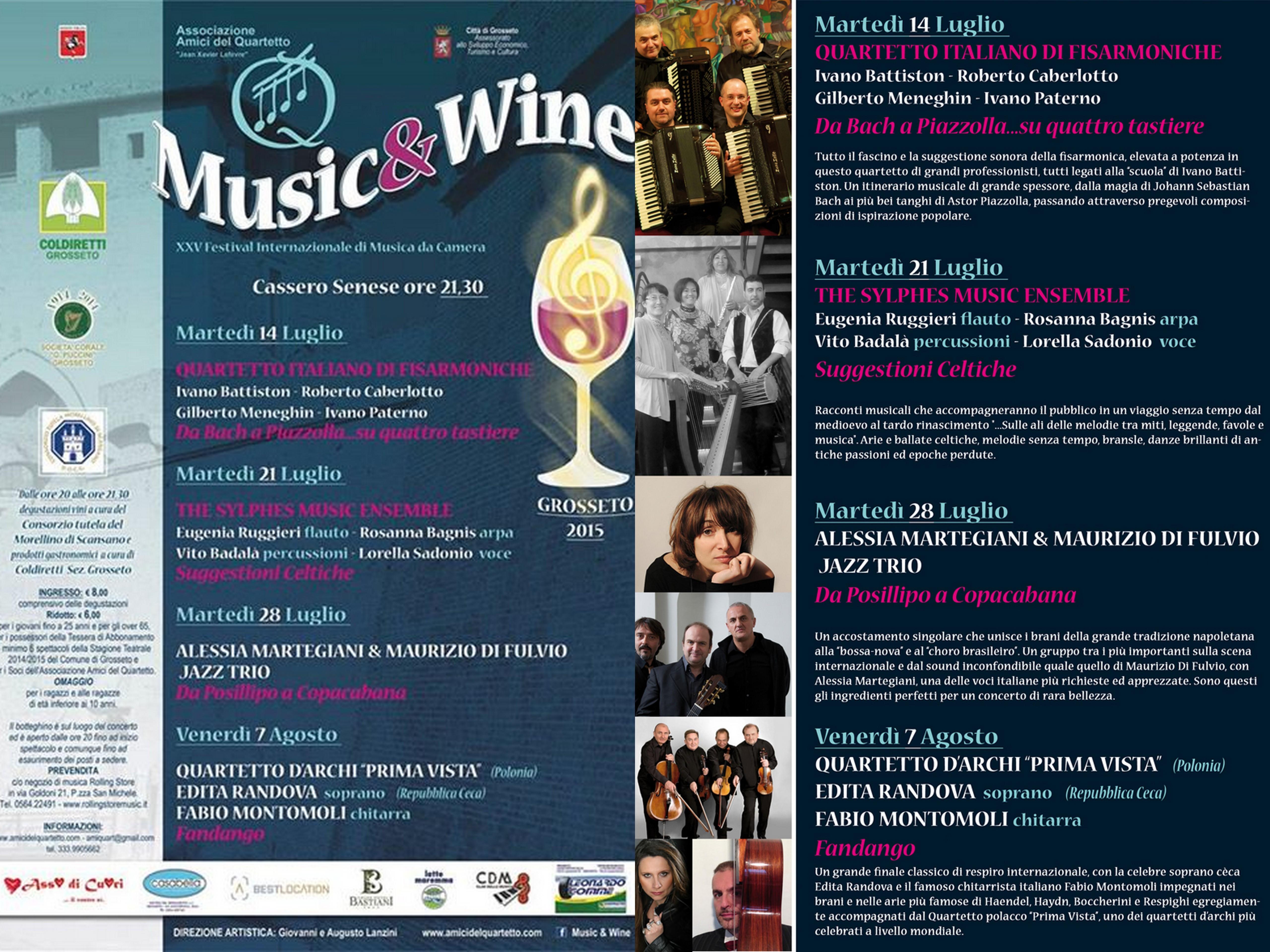 """XXV° Festival Internazionale """"Music & Wine"""": concerto d'avvio """"da Bach a Piazzolla….su quattro tastiere!"""" – Quartetto Italiano di Fisarmoniche, martedì 14 luglio Cassero Senese a Grosseto"""
