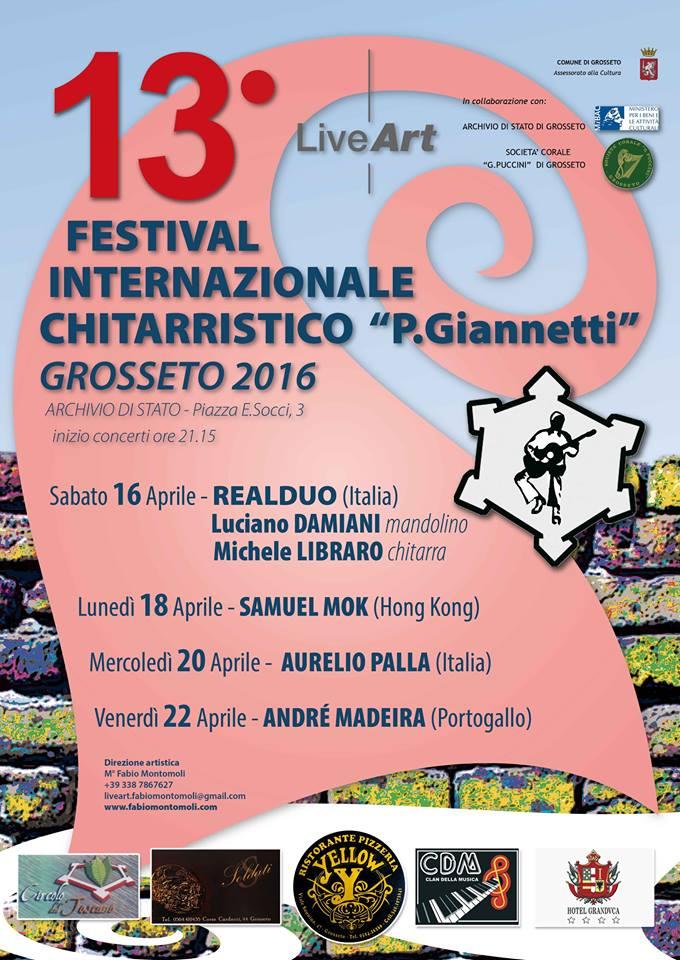 """Save the date: 16, 18, 20 e 22 aprile… facciamo 13: 13° Festival Internazionale Chitarristico """"P. Giannetti"""""""