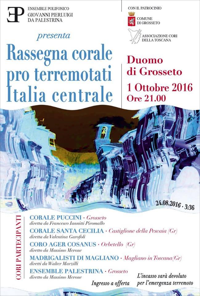 Rassegna corale pro terremotati Italia centrale –  Sabato 1 ottobre, ore 21, Duomo di Grosseto