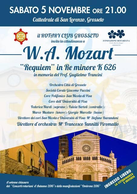 Requiem K 626 di W.A.Mozart in memoria del Prof. Guglielmo Francini, Cattedrale San Lorenzo, sabato 5 novembre ore 21